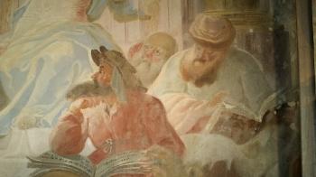 Rok 2018 prace konserwatorskie przy dekoracji malowideł ściennych i sztukaterii w południowej nawie bocznej kaplica św. Józefa