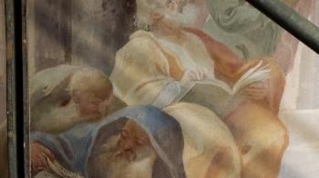 Rok 2018 prace konserwatorskie przy dekoracji malowideł ściennych i sztukaterii w południowej nawie bocznej kaplica św. Józefa_13