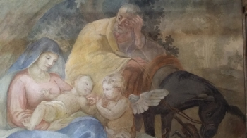 Rok 2018 prace konserwatorskie przy dekoracji malowideł ściennych i sztukaterii w południowej nawie bocznej kaplica św. Józefa_14