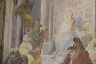Rok 2018 prace konserwatorskie przy dekoracji malowideł ściennych i sztukaterii w południowej nawie bocznej kaplica św. Józefa_3