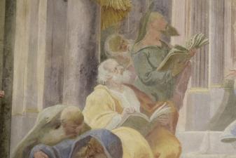 Rok 2018 prace konserwatorskie przy dekoracji malowideł ściennych i sztukaterii w południowej nawie bocznej kaplica św. Józefa_4