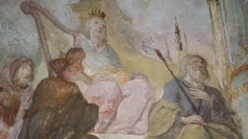 Rok 2018 prace konserwatorskie przy dekoracji malowideł ściennych i sztukaterii w południowej nawie bocznej kaplica św. Józefa_5