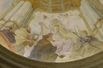 Rok 2018 prace konserwatorskie przy dekoracji malowideł ściennych i sztukaterii w południowej nawie bocznej kaplica św. Józefa_6