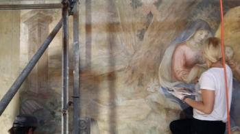 Rok 2018 prace konserwatorskie przy dekoracji malowideł ściennych i sztukaterii w południowej nawie bocznej kaplica św. Józefa_9